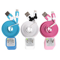 Total 6pcs/lot! Colouful 3PCS USB Data Sync Charging Cable Cord And 3PCS USB Power Adapter Wall Charger For Iphone 4/4s/5
