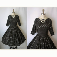 50&#x27;s Taffeta Dress // Vintage 1950&#x27;s Black by TheVintageStudio