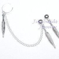 Silver Indian Feathers Ear Cuff Set by jujubee4 on Etsy