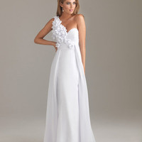 White Floral Chiffon One Shoulder Sweetheart Prom Dress - Unique Vintage - Cocktail, Evening  Pinup Dresses