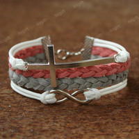 Cross bracelet - infinity bracelet with cross symbol charm for girls and GF. unique Valentine&#x27;s day gift for her