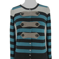 Military Striped Cardigan - Tops - doubledutch Boutique