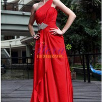Amazing A-line Single Strap Floor Length Red Prom Dress