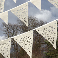 Luxury laser cut lace wedding bunting, ivory garland