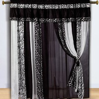 My Associates Store - Chezmoi Collection Black and White Micro Fur Zebra with Giraffe Design Window Curtain/Drape Set, with Sheer Backing