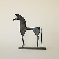 Geometric Greek Horse in Bronze, metal sculpture