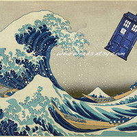 Doctor Who TARDIS Print Large POSTER Hokusai Great by WearWords