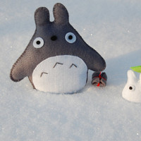 Totoro and Mini  Totoro felt plushies