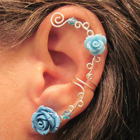 "Non Pierced Ear Cuff  ""Roses are Blue"" Cartilage Conch Cuff Wedding Prom"