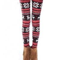 *Free Shipping* Red Snow Pattern Pants Leggings QNSD-9 from clothingloves