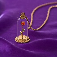 ''Enchanted Rose'' Beauty and the Beast Necklace by Disney Couture