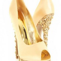 Gold Peep Toe Satin Glitter Pyramid Studded Platform Heels