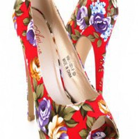 Red Floral Printed Round Peep Toes Platform