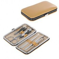 6PCS Manicure Tool Set with Leather Bag (Yellow)