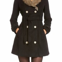 2B Fur Collar Wool Trench Coat 2b Outerwear Blk-m