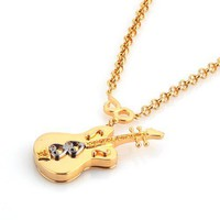14K Gold Plated Guitar Pendant Necklaceat Online Fashion Jewelry Store Gofavor