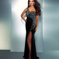 Mac Duggal Prom 2013- Black And Silver One Shoulder Gown With Embellishments - Unique Vintage - Cocktail, Pinup, Holiday &amp; Prom Dresses.