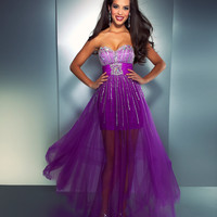 Mac Duggal Prom 2013 - Purple Strapless Chiffon Dress With Striped Sequin & Rhinestone - Unique Vintage - Cocktail, Pinup, Holiday & Prom Dresses.