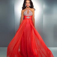 Mac Duggal Prom 2013- Hot Coral Chiffon Halter Gown With Embellishments - Unique Vintage - Cocktail, Pinup, Holiday & Prom Dresses.
