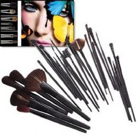 25PCS Professional Make-up Brush Set with Black Leather Bag