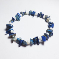 Blue-Gray Lapis Lazuli and Mother of Pearl Beadwork Stretch Bracelet