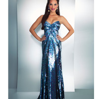 Mac Duggal Prom 2013- Black Iridescent Strapless Gown - Unique Vintage - Cocktail, Pinup, Holiday &amp; Prom Dresses.