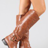 Bamboo Asiana-42 Buckle Riding Knee High Boot
