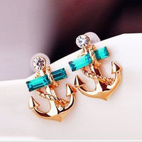 Fashion rhinestone  anchor earring  from looback