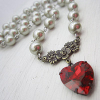 Red Heart Necklace Gift for Her Pearl Necklace Ruby Red Swarovski Crystal Valentine Heart Jewelry Almond Pearls