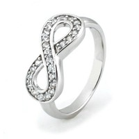Sterling Silver Infinity Ring w/ Cubic Zirconia (Size 6.5) Available Size: 4, 4.5, 5, 5.5, 6, 6.5,