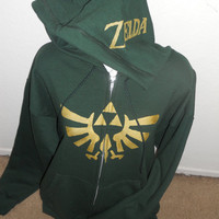 green Legend of Zelda zip up hoodie adult