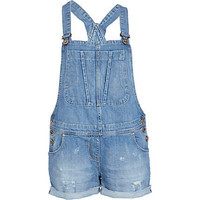 Mid wash denim short dungarees