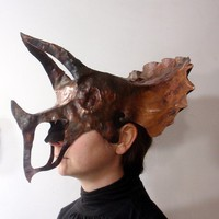 Triceratops Forged Copper Mask by VagabondMetal on Etsy