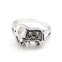 silver cute baby elephant ring silver Thai  ring female ring rings silver jewelry from ClothLess