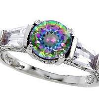 Original Star K(tm) Round 7mm Rainbow Mystic Topaz Engagement Ring: Jewelry: Amazon.com