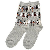 K. Bell Cat Tails Gray Socks: Feline Lovers Apparel (Women's Shoe Sizes 4-10)