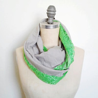 The Infinity Scarf in Neon Green Lace and Grey Jersey