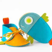 Guppies baby shoes turquoise & orange tropical by LaLaShoes
