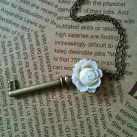 Antique bronze rose key charm necklace in white by Victorianstudio