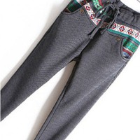 Grey Drawstring Leggings with Fleece Lining and Aztec Print