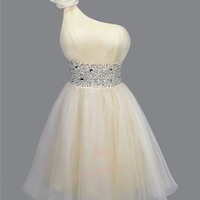 Classic Rhinestones Padded Single Shoulder Prom Dresses S Apricot