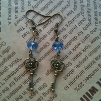 Antique bronze keys earrings with blue crystal by Victorianstudio