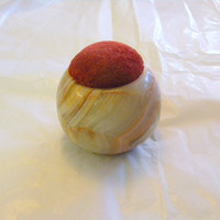 Vintage solid agate pin cushion