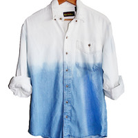 90s Grunge Unisex REVERSE Dip Dye Ombre Bleached Denim Long Sleeve Shirt Top