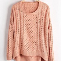 Pink Jumpers with Cut Out Design and High Low Hem
