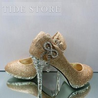 New Arrival Golden PU Upper Stiletto Heels Closed-toes Wedding Bridal Shoes : tidestore.com