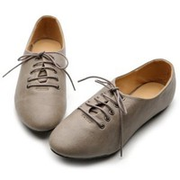 Ollio Womens Oxfords Ballet Flats Loafers Lace Ups Low Heels Grey Shoes:Amazon:Shoes