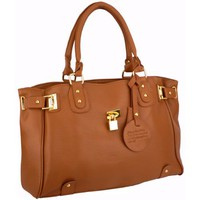 LUCCA Brown Glamour Padlock Designer Inspired Shopper Hobo Tote Bag Purse Satchel Handbag w/Shoulde