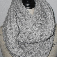 Chunky Infinity Scarf Cowl Pearl Gray Ready to Ship