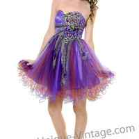 Purple & Brown Peacock Embroidered Tulle Strapless Homecoming Dress - Unique Vintage - Cocktail, Evening  Pinup Dresses